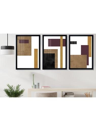 Çerçeve Home  Gold Decorative Siyah Çerçeve Tablo Seti Siyah
